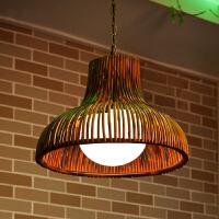 东南亚餐厅吊灯 田园餐吊灯竹编麻将灯中式茶楼饭厅火锅店竹灯具 含4W暖黄LED灯泡
