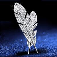 水晶羽毛胸针 男女西服西装胸花 个性商务徽章潮流英伦风简约配饰品