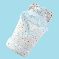 婴儿抱被秋冬天天新生儿襁褓包巾宝宝抱毯睡袋 婴儿包被秋冬加厚wk-71 蓝色 6618花边包被