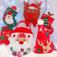 Endu儿童圣诞帽手工DIY材料包 圣诞小礼物幼儿园不织布粘贴装饰套装