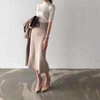 复古港味裙子中长款毛线半身裙2018新款秋冬女针织裙高腰包臀裙 均码