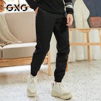 【特价】GXG男装 2021春季时尚修身束脚黑色休闲长裤男GY102031GV