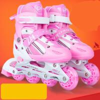 儿童溜冰鞋女童可调旱冰鞋男直排轮滑鞋全套装3-6-11岁小孩滑冰鞋