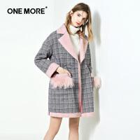 ONE MORE2018冬装新款千鸟格子毛呢外套女中长款小个子粉色大衣