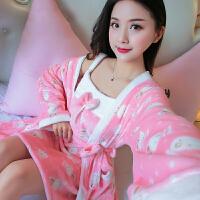 秋冬季法兰绒睡裙和服睡袍两件套繁女士浴袍珊瑚绒加厚睡衣浴衣