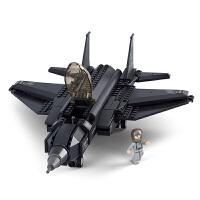战斗飞机积木仿真模型拼装男孩玩具8大型10航模适合6岁孩子的玩具 F35闪电战斗机(252片) 现货现发