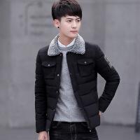 棉衣男 潮新款羽绒男士羊羔毛立领冬装外套男 黑色 M
