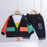 男童秋装套装帅气宝宝春秋款卫衣小童工装外套三件套