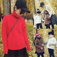 母女装外套高领亲子毛衣母子母女装秋冬款2018新款潮 男童韩版加厚套头外套MYZQ88