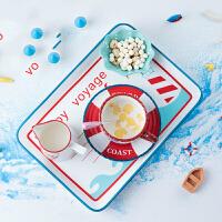 儿童餐盘儿童餐具家用地中海陶瓷创意卡通可爱小碗具个性碗碟套装wk-119 YX-61小海船海洋早餐套组11头 11件