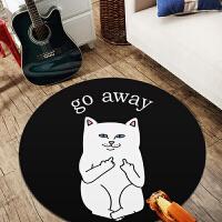 圆形地毯电脑椅子吊篮地垫可爱儿童房间卧室客厅床边北欧现代简约定制 黑色 贱猫
