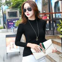 半高领黑色打底衫长袖T恤女修身上衣服中领秋季新款韩版