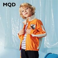 MQD童装男童立领外套2020春装新款儿童运动夹克衫撞色拼接潮