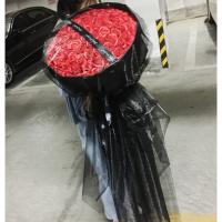黑纱玫瑰香皂花束礼盒干花永生花送女友送闺蜜生日礼物礼品情人节 99朵红色 长纱