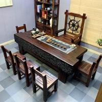 【�豳u新品】老船木茶桌椅�M合新中式��木家具功夫茶�缀�茶�_�k公室茶�桌 整�b