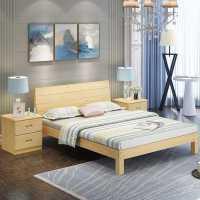 实木床现代简约1.8米松木双人床1.5米出租房经济型1.2m单人床木床