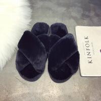 韩国秋冬毛绒绒时尚家居家一字拖露趾外穿毛毛拖鞋女平底女鞋