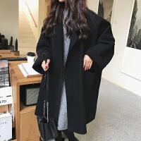 毛呢外套女中长款韩版新款秋冬学生宽松流行赫本小个加厚呢子大衣