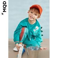 MQD童装男小童20春新款圆领卫衣男宝宝可爱小恐龙卡通长袖上衣