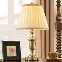全铜台灯卧室 床头灯 客厅复古铜台灯简欧布艺美式台灯 装饰台灯摆件家居*创意