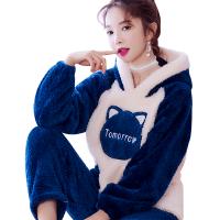 家居服珊瑚绒睡衣秋冬长袖新款韩版甜美可爱套装加厚保暖法兰绒