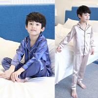 儿童睡衣男童家居服薄款长袖冰丝套装中大童春秋夏季