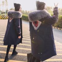 羽绒服女中长款冬季新款韩版真大毛领宽松外套韩国工装加厚潮 藏青色