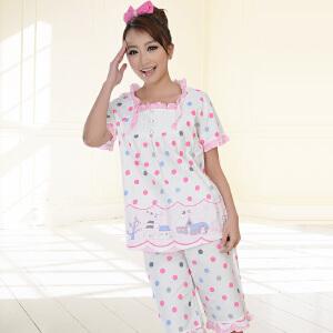 金丰田夏季短袖女士棉质睡衣 波点全棉家居服套装1756