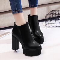 秋冬季新款靴子女短靴粗跟高跟鞋子女加绒切尔西靴英伦风女鞋