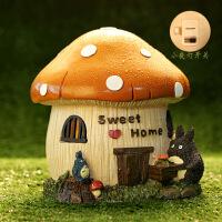 创意情人节旋转八音盒儿童生日礼物女生龙猫音乐盒天空之城摆件 橘蘑菇储蓄罐小夜灯 无音乐
