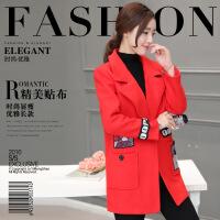 呢子大衣女春装新款韩版翻领长袖卡通印花贴布中长款毛呢外套