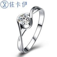 佐卡伊白18k金钻石戒指女戒钻戒 时尚名媛 结婚戒指珠宝