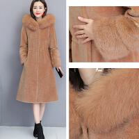 皮草外套女2018新款冬季中长款羊剪绒大衣女士狐狸毛连帽一体