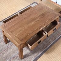 【热卖新品】欧式实木家具客厅简约咖啡桌橡木古琴桌子现代简易方形抽屉小茶几 整装