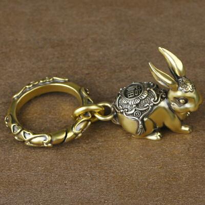 复古十二生肖兔子黄铜钥匙扣挂件男女款吊坠书包配饰可爱创意礼品