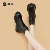 jm快�番���2020秋冬新款百搭真皮�壤���R丁靴中筒短靴女靴子