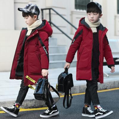 男童棉衣冬装中长新款加厚儿童羽绒袄中大童休闲韩版童装 红色 110cm 批量拍下不发货