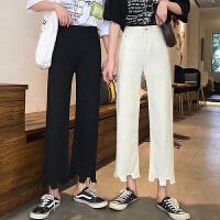 三木子快时尚女装~2019春季新款韩版高腰牛仔裤宽松阔腿裤九分裤