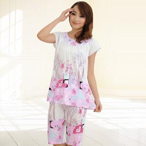 金丰田睡衣女夏套装韩版短袖休闲可外穿两件套宽松薄款短裤大码中年家居服1758
