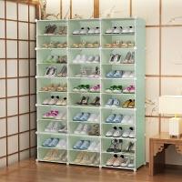 透明鞋盒收纳神器家用20个装鞋子收纳盒整理箱长靴子省空间鞋柜 [4列]8层 白 126x30x158cm