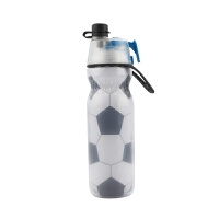 【优选】美国喷雾水杯保冷户外运动健身水壶学生儿童便携喷喷水壶杯 足球款590ml 送制冰盒加杯刷