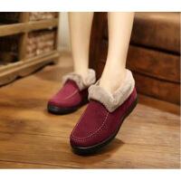 老北京棉鞋女冬季保暖加绒加厚短款平底雪地靴妈妈毛毛鞋