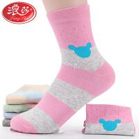 5双浪莎袜子女士纯棉袜短袜夏季薄款中筒袜春秋女袜运动透气防臭长袜