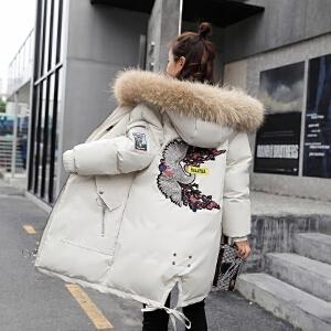 2018新款棉服 女韩版大码显瘦刺绣棉衣面包服外套