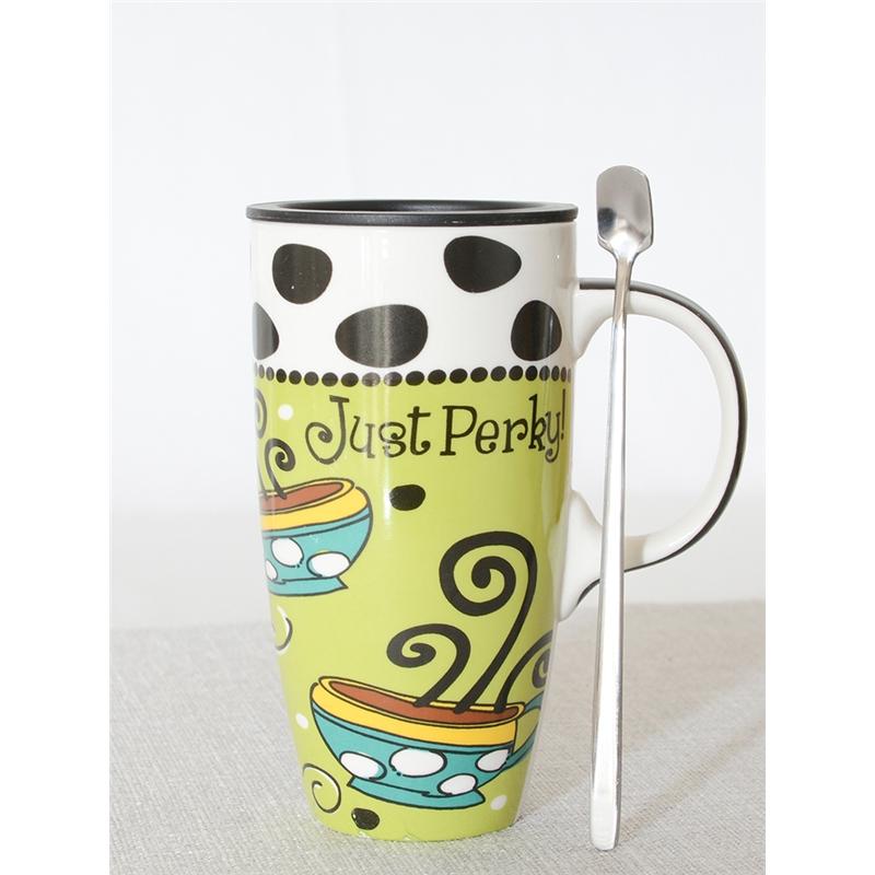 杯子女陶瓷彩绘马克杯大容量超大可爱带盖勺子欧式早餐燕麦杯时尚