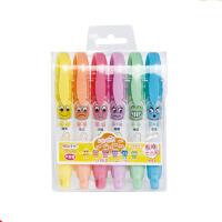 掌握 ZW-553大容量水果香型表情荧光笔可爱笔标记笔6色荧光笔大中小学生男女生幼儿园办公学习绘画工具美术画材当当自营