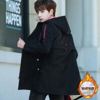 男士中长款外套秋冬季韩版潮流加绒加厚夹克学生帅气棉衣男装风衣 88166红色加绒加厚 165/M