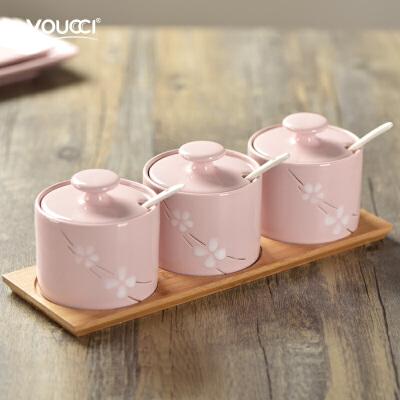 陶瓷调味罐组合套装 创意家用厨房用品调料罐盐罐三件套