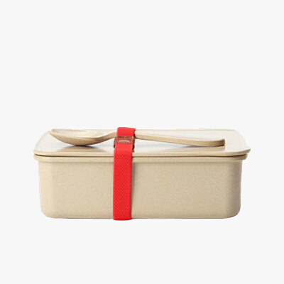 当当优品 壳氏唯稻壳环保创意保鲜盒 可微波炉加热饭盒 长方形便当盒带勺  (小)当当自营 稻壳材质 健康环保 设计简洁 光滑易洁 儿童餐具 赠送勺子
