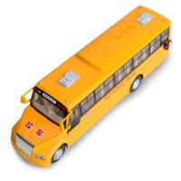 SCHOOL BUS学校巴士校车声光回力合金儿童玩具车模型批发 黄